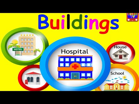 BUILDINGS VOCABULARY for Beginners, Kids, Kindergarten with Emojis - Learn Building Names in English