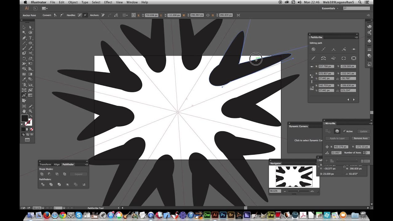 VectorScribe : MirrorMe & PathScribe plugins together in Illustrator