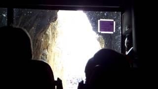 tour bus inches through tunnel in the south dakota black hills yikes 8 17 14