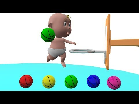 Learn Color With Baby Play Basketball Funny For Kids - Learning Video For Children -Colours For Kids