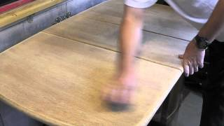 French Polishing A Drop Leaf Table Top.