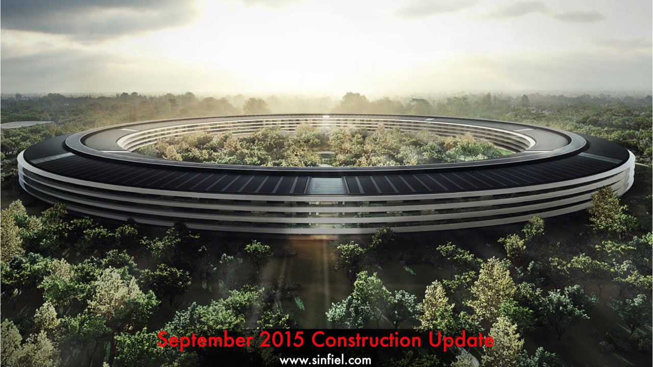 apple campus 2 construction sept 2015 update feat steve jobs youtube cupertino office
