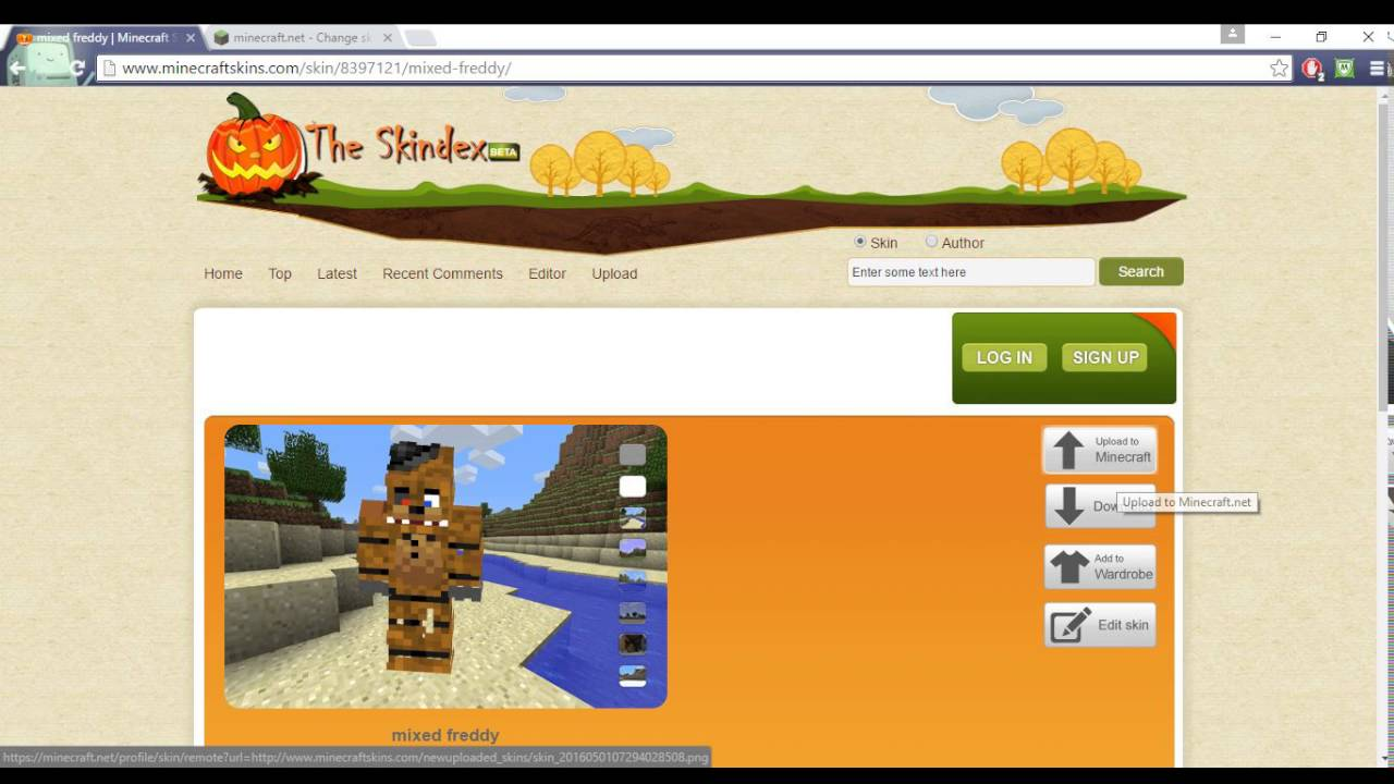 HOW TO GET FNAF MINECRAFT SKIN GET ANY SKIN FROM SKINDEX YouTube - Skins para minecraft 1 8 skindex