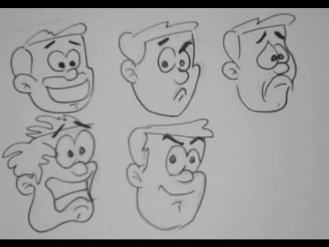 Line Drawing Cartoon Face : How to draw cartoon facial expressions easy drawing tutorial