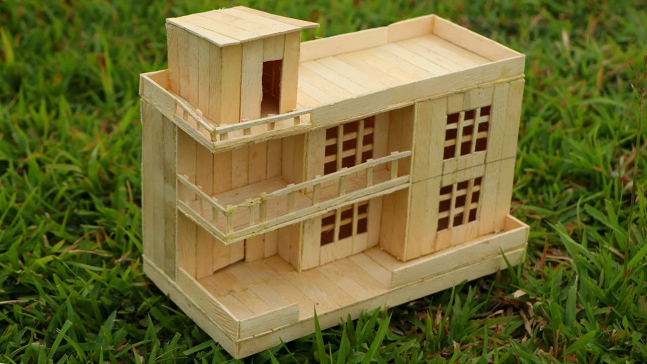 How to make a modern popsicle sticks house very easy youtube for What makes a house a mansion