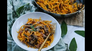 Dinner Recipe: ONE POT Butternut Squash Pasta with Prosciutto, Mushrooms &amp Sage by Everyday Gourmet