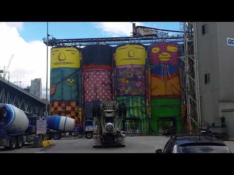 """Brazilian Artists Os Gemeos """"Giants"""" Murals at Ocean Concrete in Vancouver, BC, Canada"""