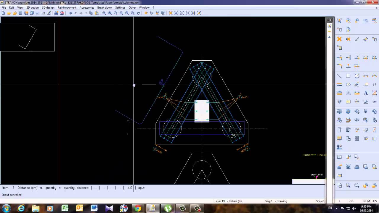 Strakon_Drawing Pile cap on 3 piles reinforcement only CLICK