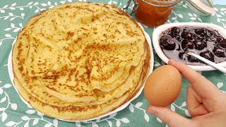 Soft and tender crepes (French pancakes) with one single egg. Low cost recipe.