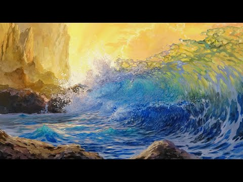 Painting A Crashing Ocean Wave Sunset Scene With Translucent Water