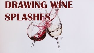 DRAWING WINE GLASSES WITH A SPLASH | TIME LAPSE