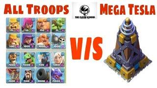 The Mega Tesla V/S All Troops|Clash Of Clans|Clash School