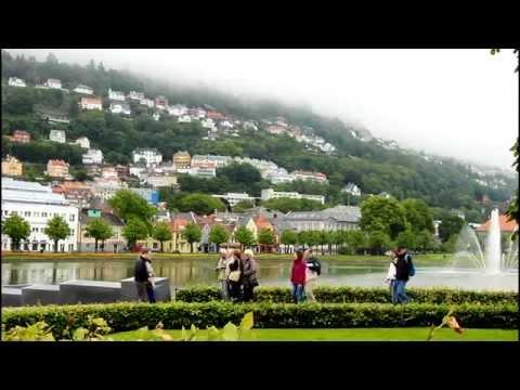 Walking tour around Bergen City, Norway