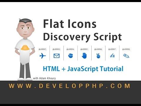Flat Icons HTML Code Symbols Discovery JavaScript