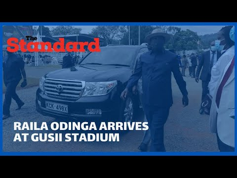 Raila Odinga arrives at the Gusii stadium for the Mashujaa Celebrations