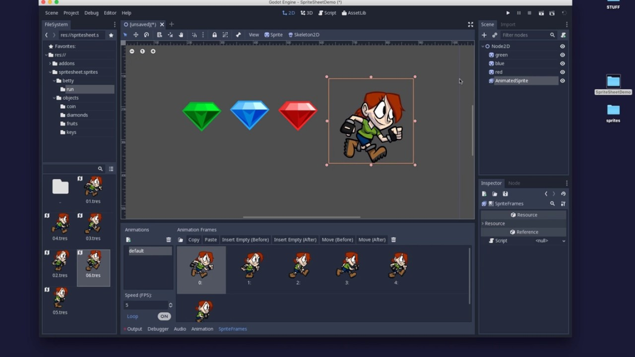Godot: Creating AtlasTextures and using SpriteSheets from TexturePacker