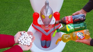 Experiment !! Iron Man VS Coke, Sprite, Fanta and Mentos in Toilet