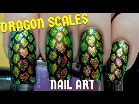 Easy Dragon Scales DIY Freehand Nail Art Tutorial
