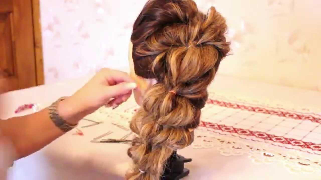 Прическа с помощью резинок на длинные волосы