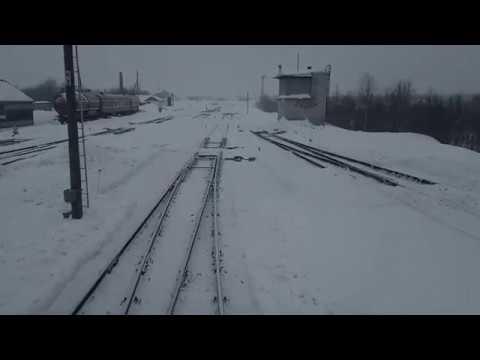Отправление поезда со станции|Вид из кабины машиниста