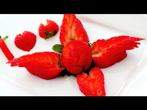 How It's Made Strawberry Decoration   Fruit Carving Garnish   草莓   Party Garnishing