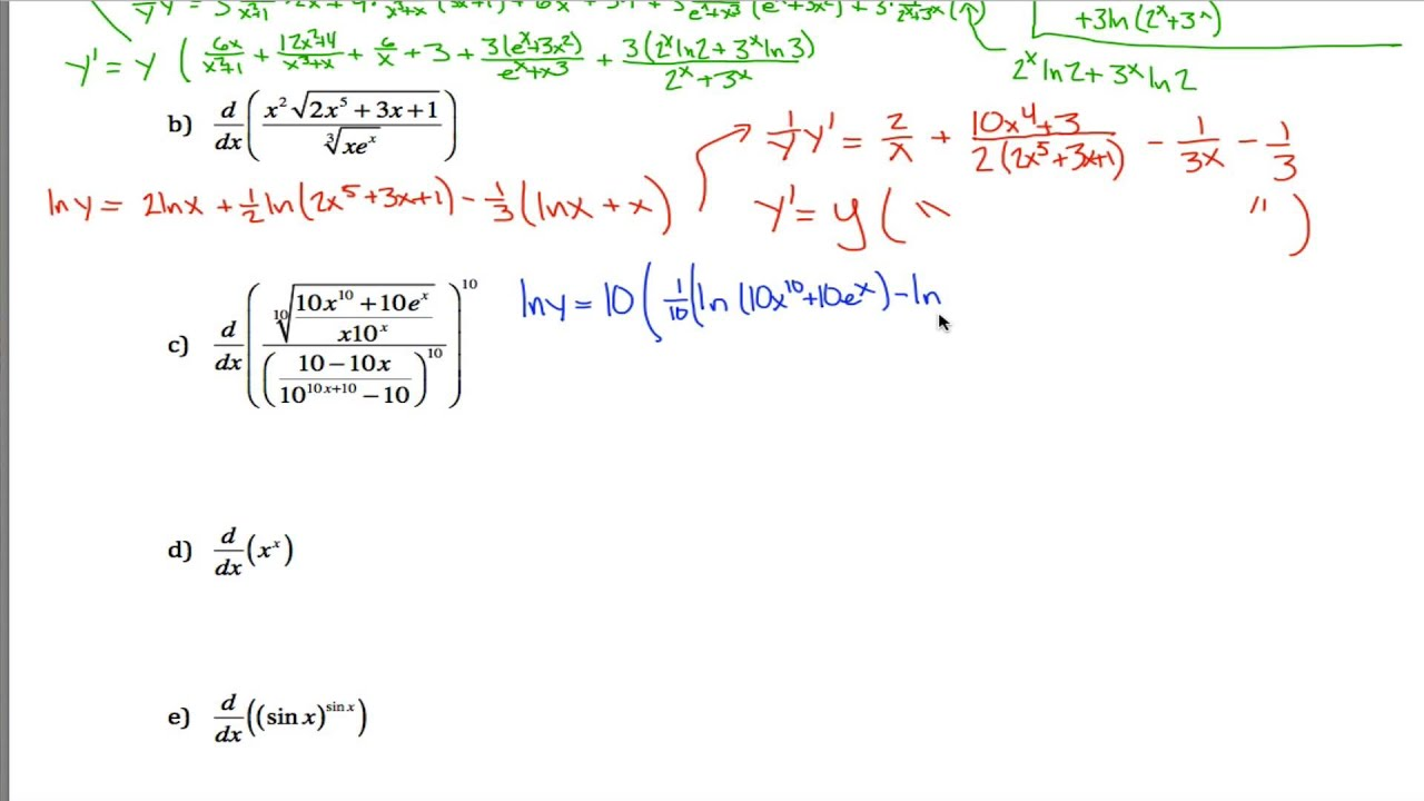 Logarithmic Differentiation Worksheet 2