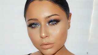 GLAM Navy Blue Smokey Eye Makeup Tutorial PRODUCTS USED Marc Jacobs...