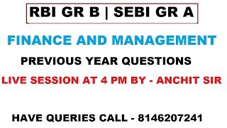 Previous Year Questions for FM |Part 1|RBI Gr B|SEBI Gr A|2019