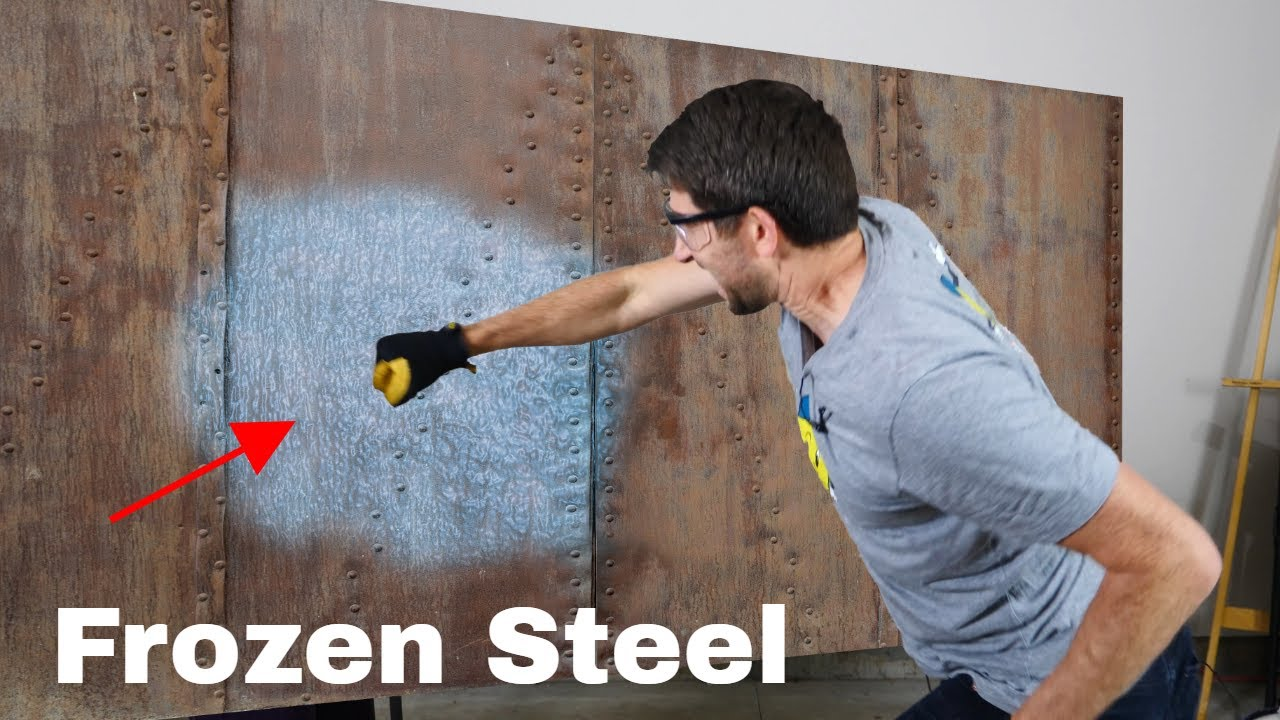 Punching a Hole Through Solid Steel Frozen With Liquid Nitrogen