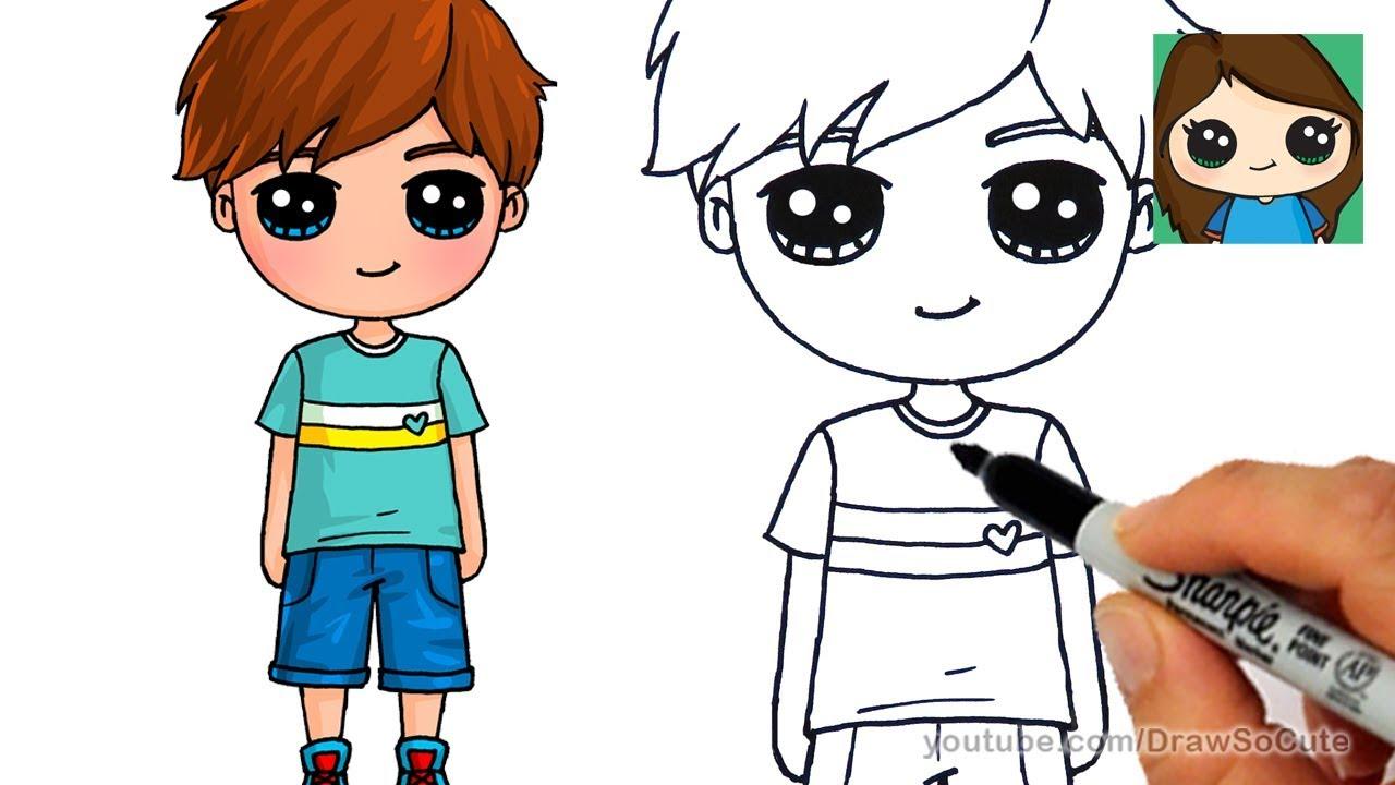 draw cute boy easy