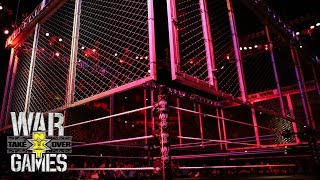 The cage is lowered for NXT's first-ever WarGames Match: NXT TakeOver: WarGames