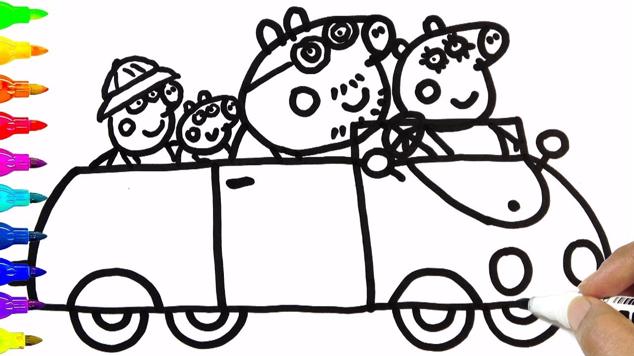 Drawing Peppa Pig Family In Car Coloring Pages Bobo Cute Art Youtube