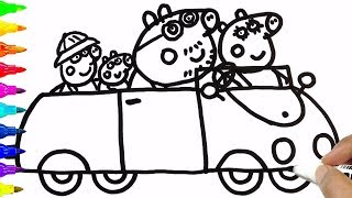 Drawing Peppa Pig Family In Car | Coloring Pages | BoDraw