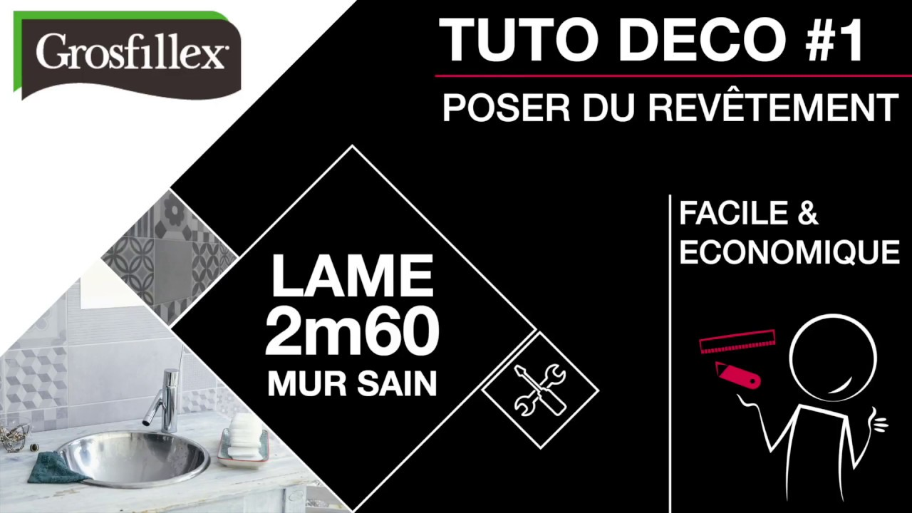 tutoriel pose rev tement mural pvc grosfillex 2 60 m mur sain youtube. Black Bedroom Furniture Sets. Home Design Ideas