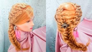 прически для длинных волос из косичек на бок плетение колосок коса с подхватом 5-ти прядная hair