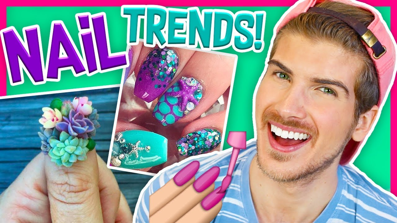 TRYING CRAZY NAIL TRENDS! - Mermaid & Succulent Nail Art - YouTube