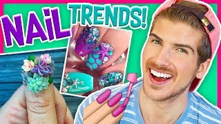TRYING CRAZY NAIL TRENDS! - Mermaid & Succulent Nail Art