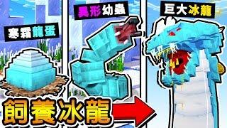 Minecraft 麥塊收服【超巨大冰龍】😂 !!3種OP型態,還會【噴射火焰】!! 最後變成【魔物獵人】!! 全字幕