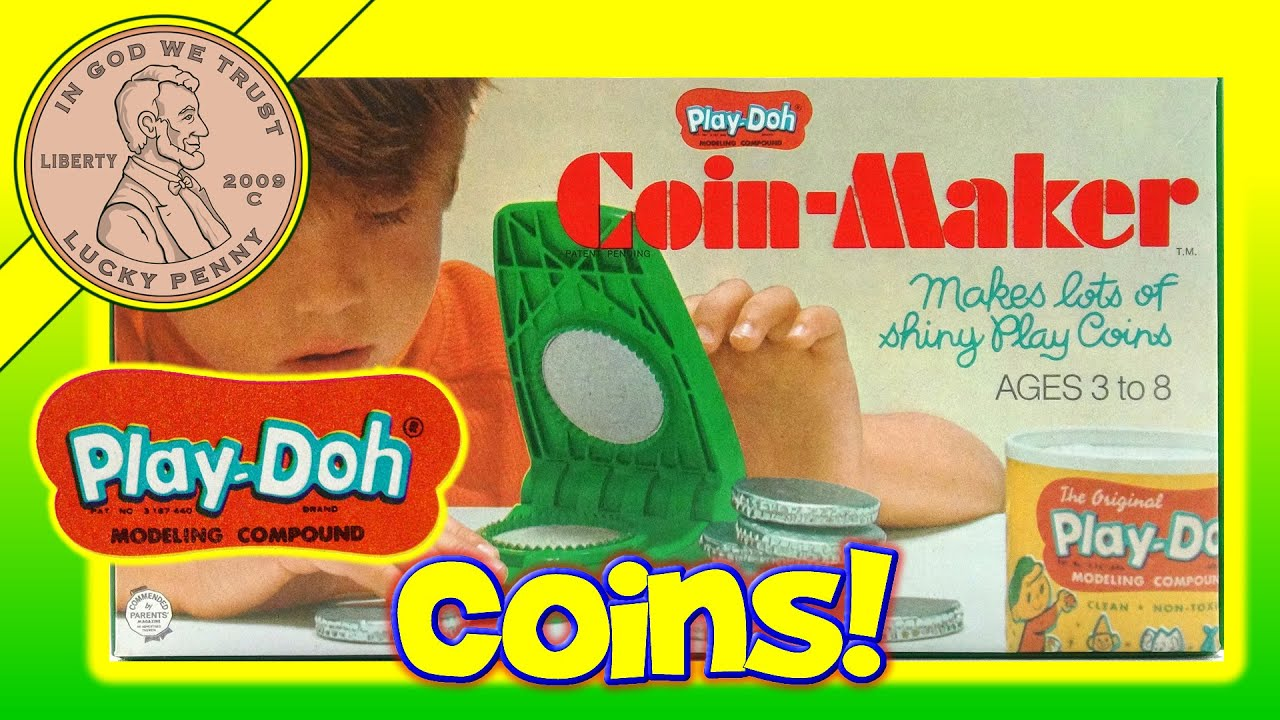 Play Doh Coin Maker plete 1968 Vintage Set 201 Make Lucky