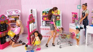 Barbie Doll Grocery Store Supermarket with Mini Brands Miniature Dollhouse Food