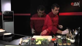 Филе белой рыбы с сальсой, кориандром и зеленым гарниром