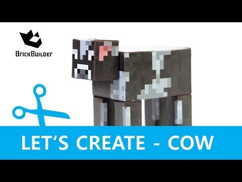 Papercraft Let's Create - Cow - Minecraft Paper Model with DOWNLOAD LINK