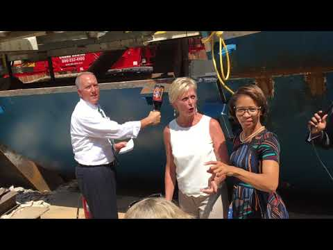 Mayor Dan Horrigan christens Rosie the tunnel boring machine