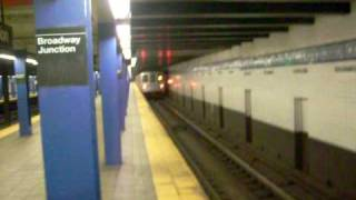 IND F train R46 via the C Line leaves Broadway - Junction, East NY