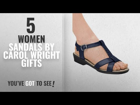 Top 5 Carol Wright Gifts Women Sandals [2018]: T-Strap Sandal, Navy, Size 6 (Wide)