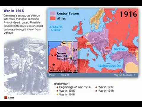 History of World War One  1914 - 1918  Map