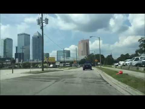 Driving Downtown Tampa Florida USA