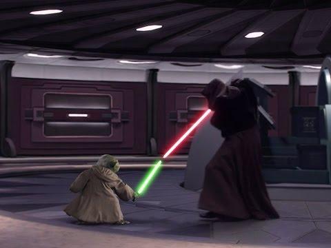 Lightsaber Battle Yoda vs Darth Tyranus vs Darth Sidious