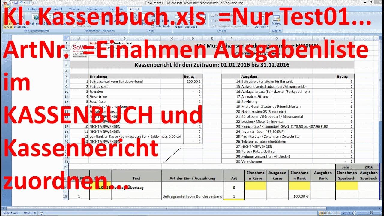 W_0270 =Kl. Kassenbuch.xls =Nur Test01 =Einnahmen Arten - YouTube