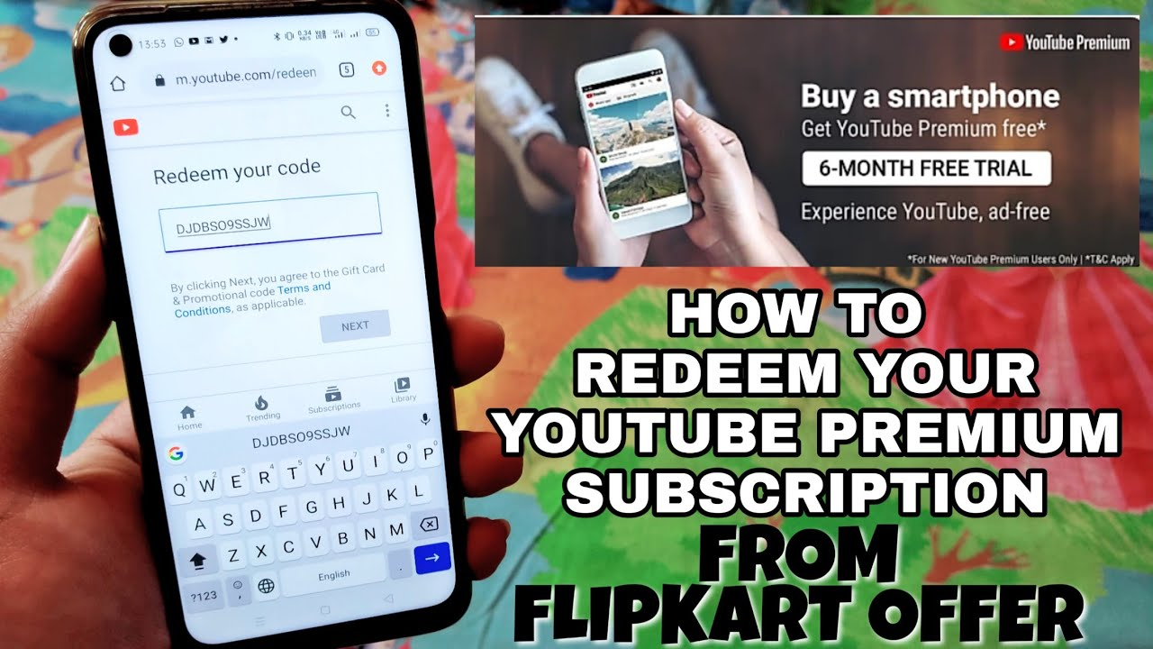 Very Easy Way to Redeem your YouTube Premium Subscription Code from Flipkart : Step by Step?